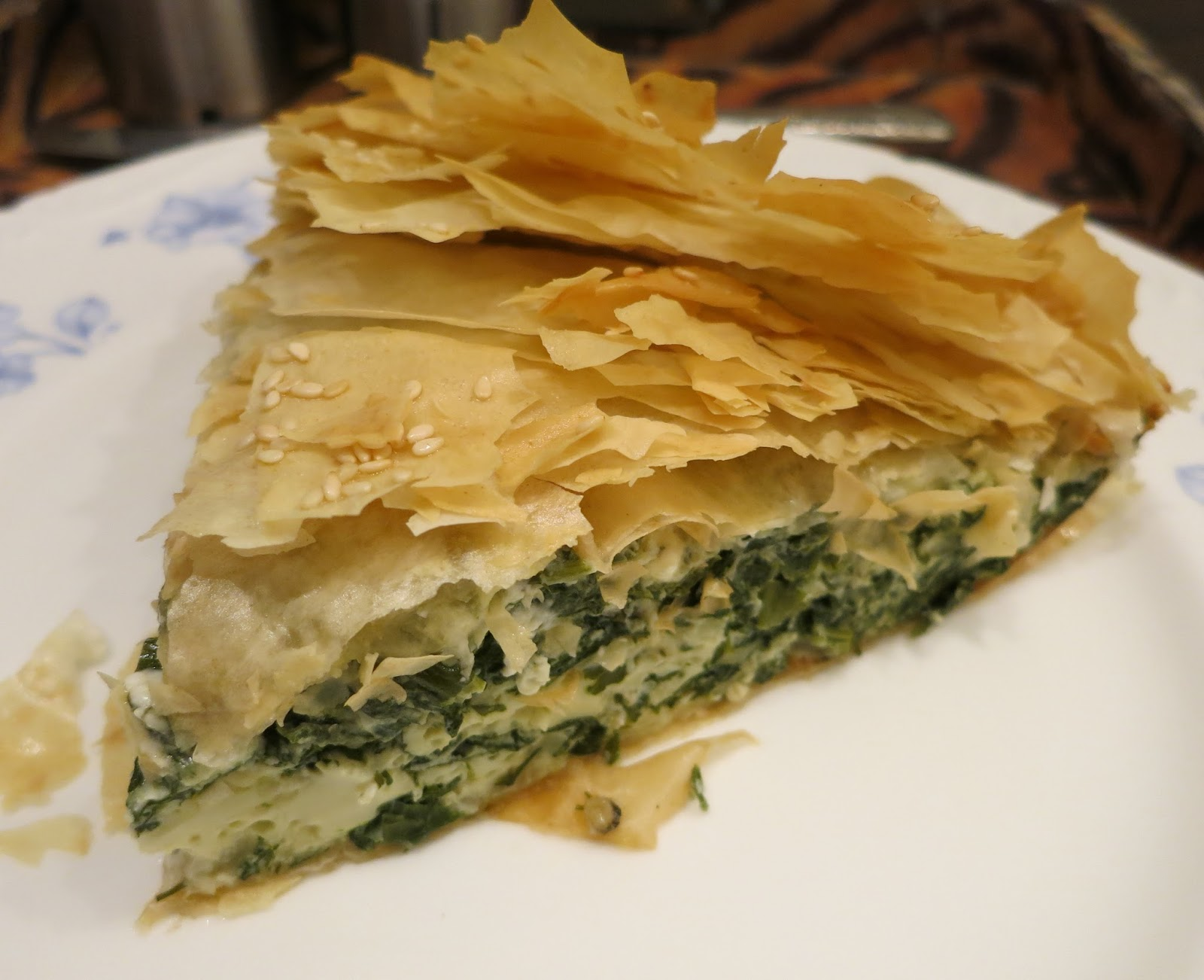 there was spinach pie i had some small bits of cheeses to use up along ...