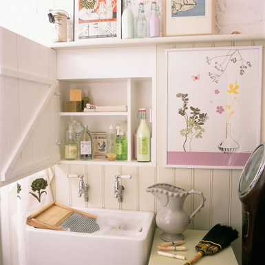 Trend  When space is tight and all you have is a large sink create your utility zone by incorporating clever storage around this focal point A wall hung cabinet