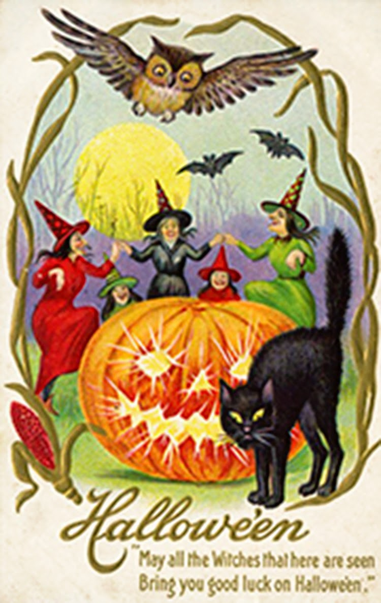 Free Vintage Halloween Postcard Witches Black Cat