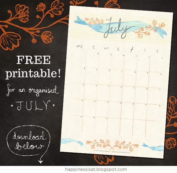 July calendar free printable download by Happiness is... freelance graphic design and illustration