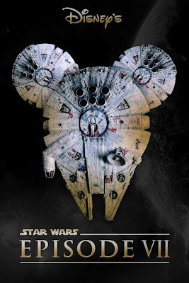 Episode VII Fan Poster showing the Millenium Falcon with Mickey Ears