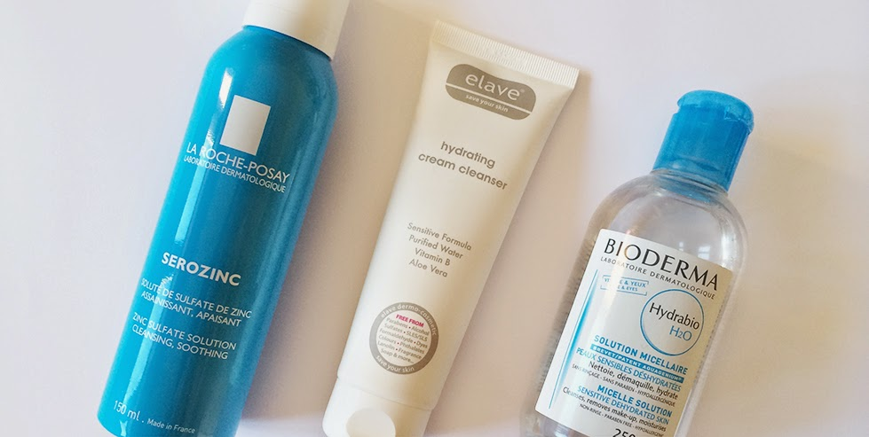 after sun, BIODERMA, calming, cleanser, cream cleanser, elave, H2O, hydrabio, hydrating, irritada, irritated, LA ROCHE POSAY, mist, pele, sensitive, sensível, serozinc, skin, skincare, toner,