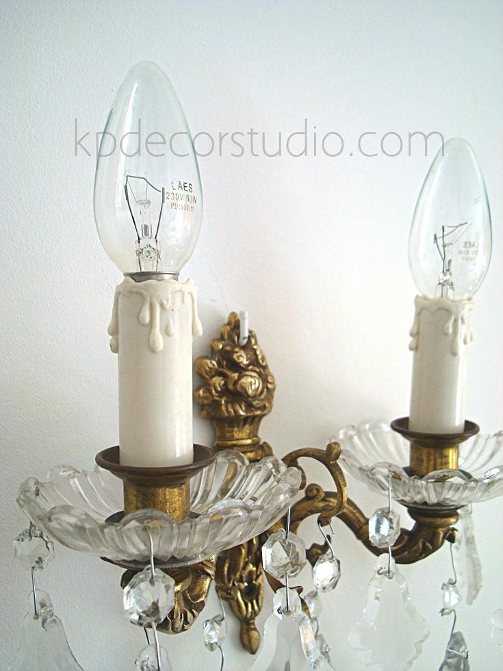 Kp tienda vintage online comprar apliques vintage de - Lamparas de cristal antiguas ...