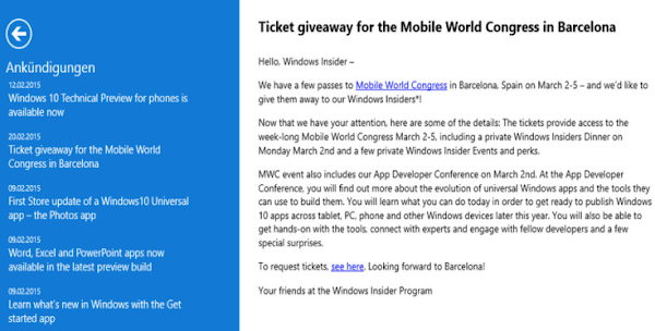 MWC passes to select Windows Insiders