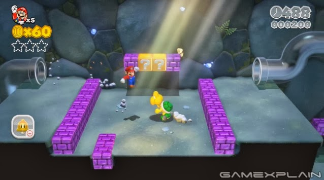 Screenshot of World 1-2: Koopa Troopa Cave in the Wii U video game Super Mario 3D World