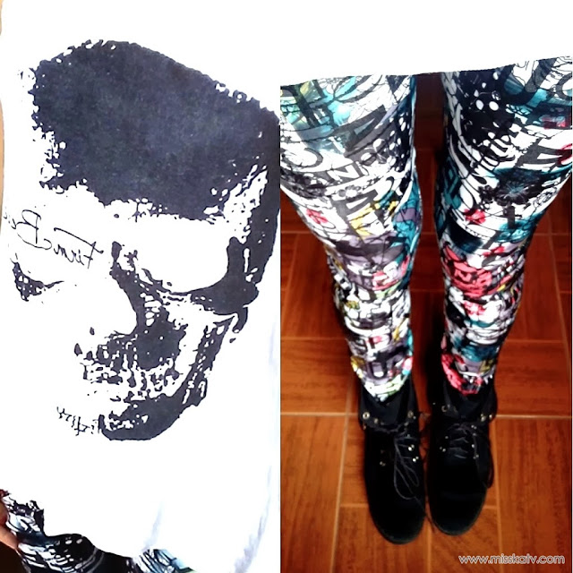 persunmall graffiti skull clothing ad review comment sponsor fashion hot outfit attire leggings top blouse shirt beanie black white abstract fall winter