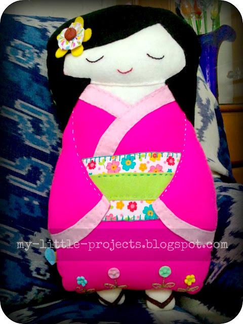 Handstitched kokeshi felt doll