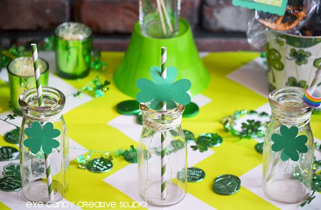 shamrock party, st pattys day party place setting, milk bottles