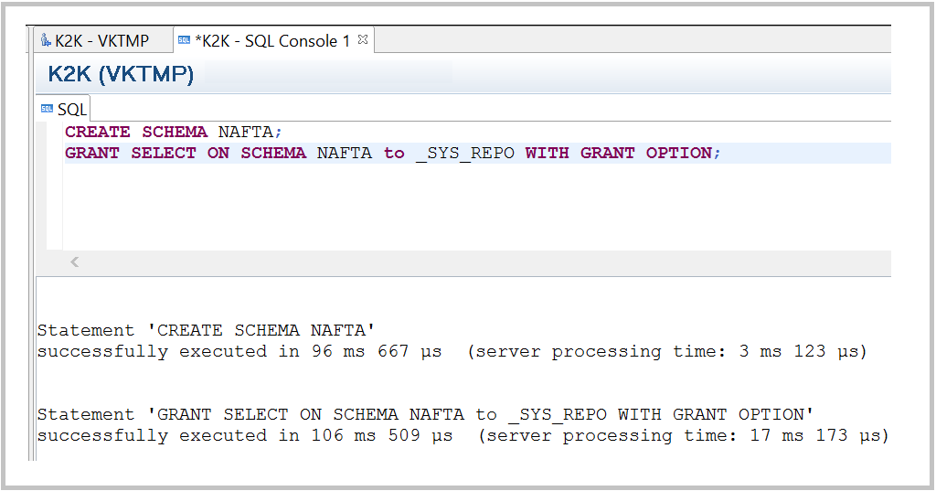 HANA Create Schema SQL