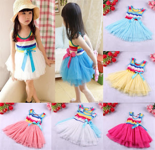2015 New Girls' Rainbow Dress baby TuTu Dress and price