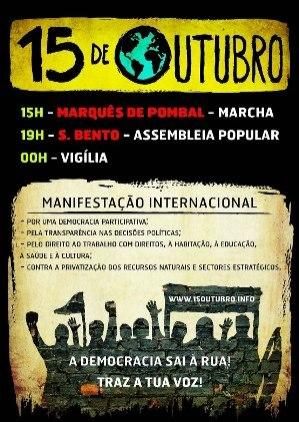 SÁBADO, 15 DE OUTUBRO - GERAÇÕES À RASCA VOLTAM À RUA INDIGNADAS