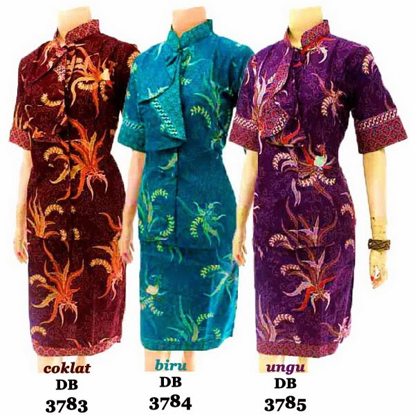 DB3783-3785 Model Baju Dress Batik Modern Terbaru 2014