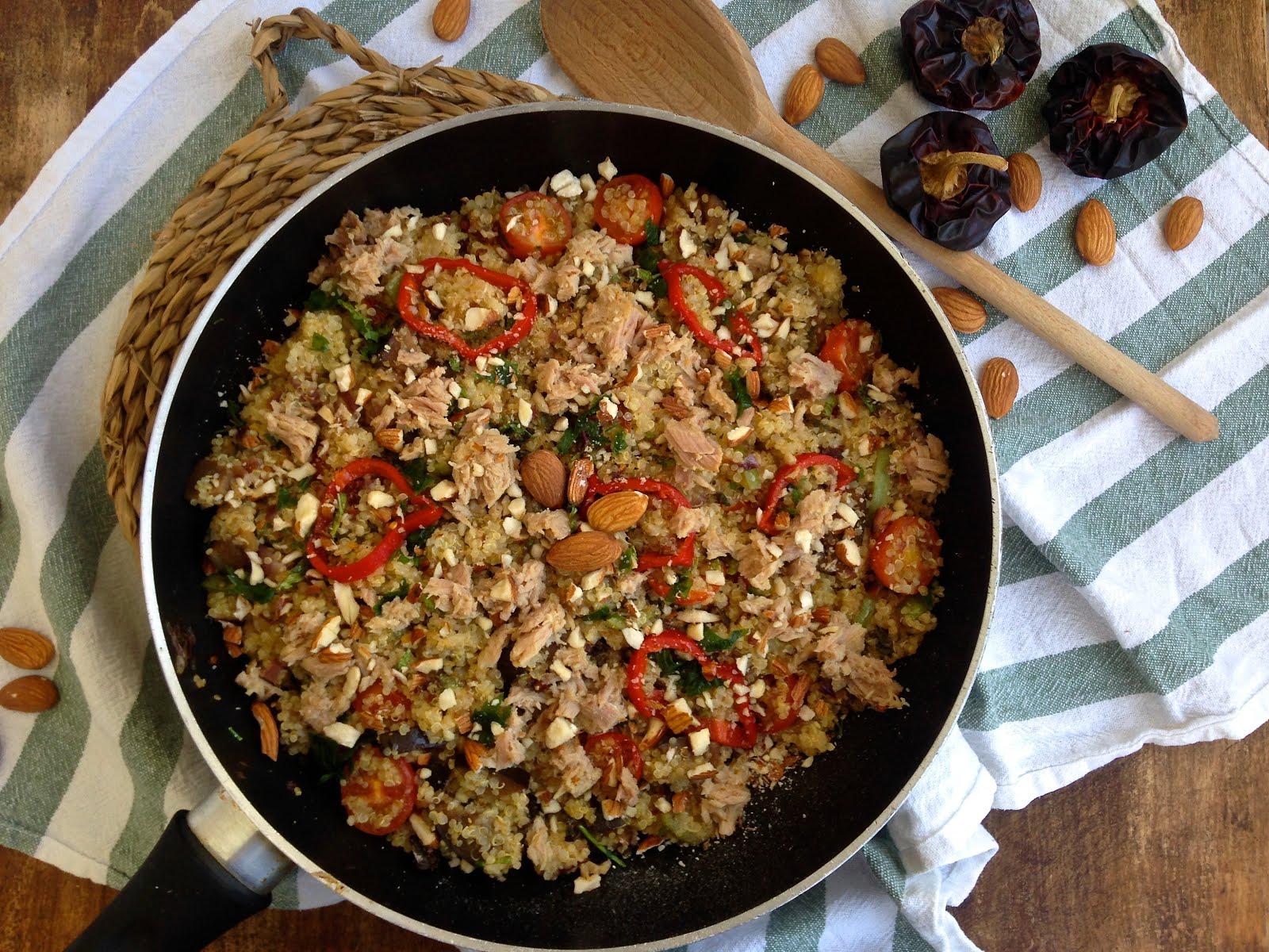 Salteado de quinoa con verduras y at n - Cocinar quinoa con verduras ...