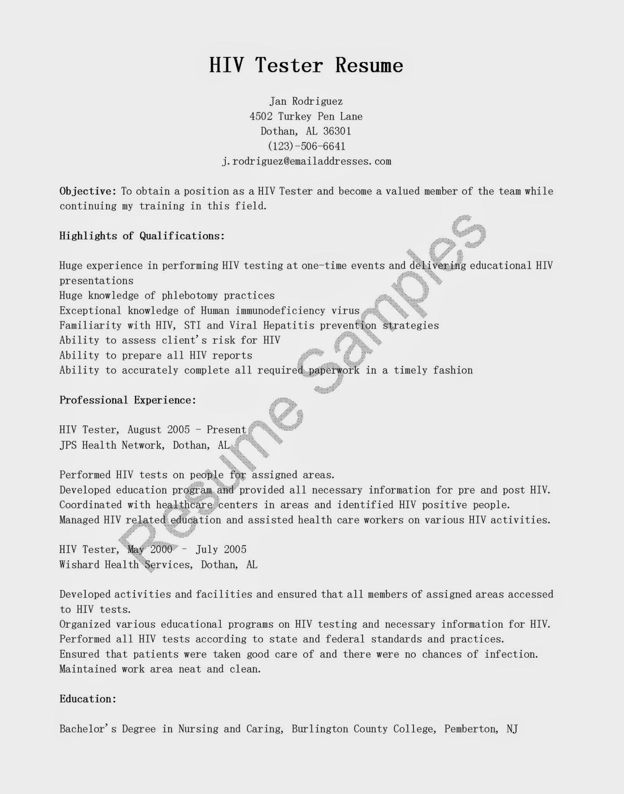 Resume Samples HIV Tester Resume Sample