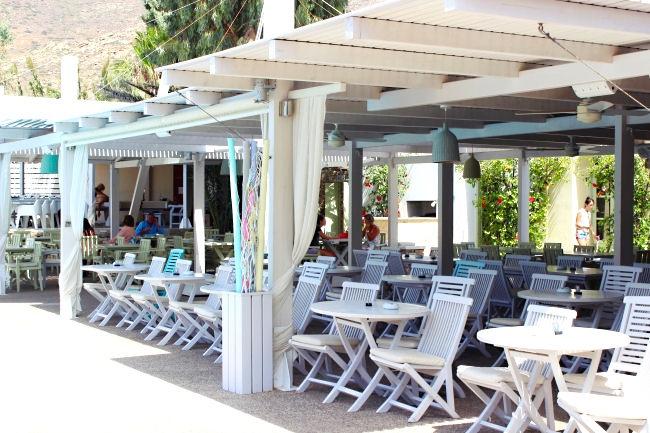 Far out beach club in Ios. Best beach clubs in Greece. Summer party in Greece. Far out village has a hotel, hostel, villas, spa, beach club.