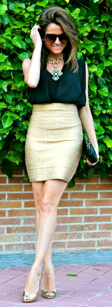 Black Sleeveless Blouse with Golden High Waist Skirt and Pumps | Chic Spring Outfits