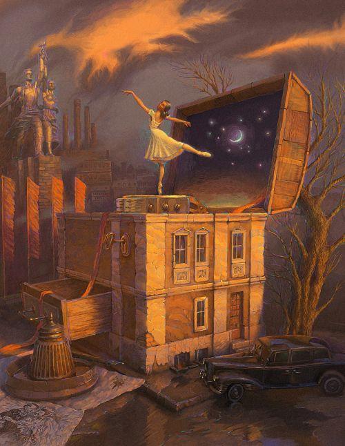 Andrew Ferez 25kartinok deviantart ilustrações sombrias surreais Caixa de música