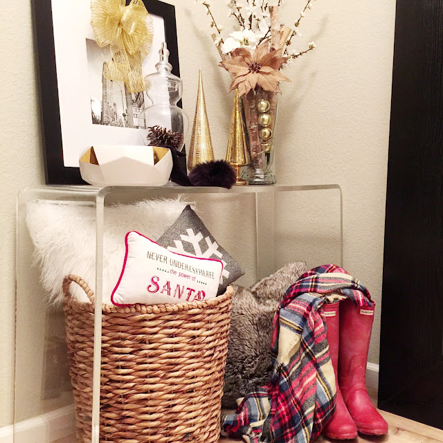 entryway style plaid hunter boots