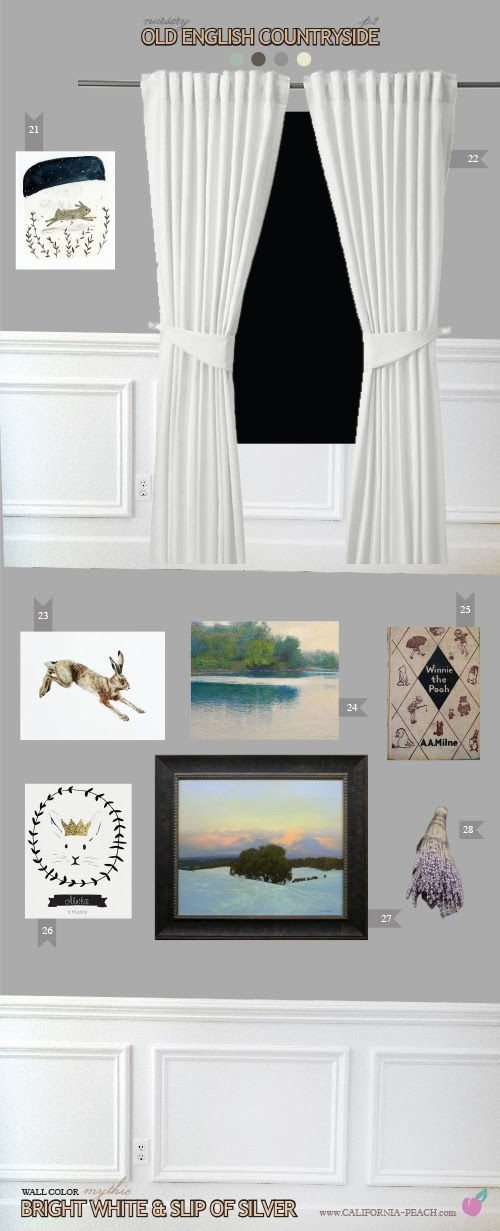 Old English Countryside || on California Peach || Nursery Baby Room Interior Design Style Board