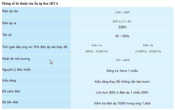 Thông số kĩ thuật ổn áp lioa SH1000VA