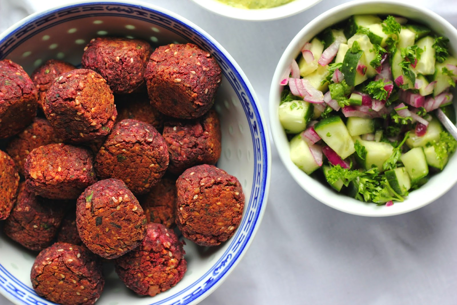 Nutty Baked Beetroot Falafels + Some Fixin's | happy hearted kitchen