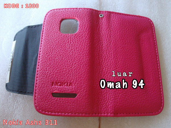 Jual Wallet Book Leather Case Nokia Asha N 311 Merah Hati (Pink)