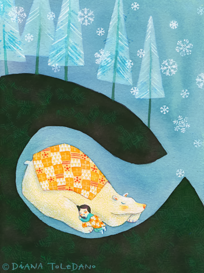 """girl sleeping with bear while the snow is falling"". illustration by Diana Toledano"
