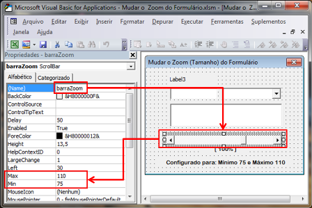 Propriedades, StatusBar, Excel