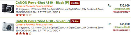 harga canon powershot a810