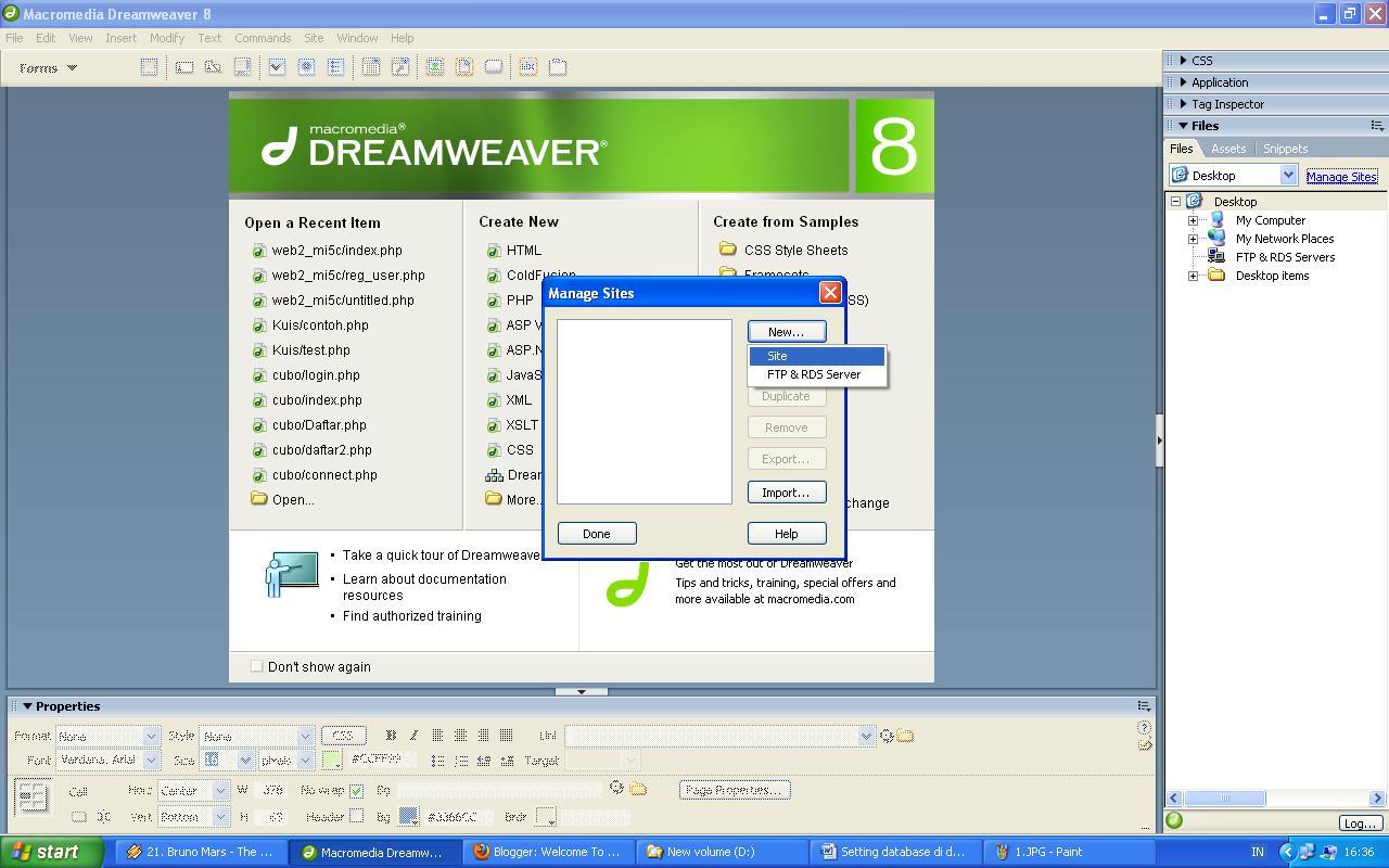 Membuat Koneksi Database PHP MySQL di Dreamweaver 8 ~ Ilmu