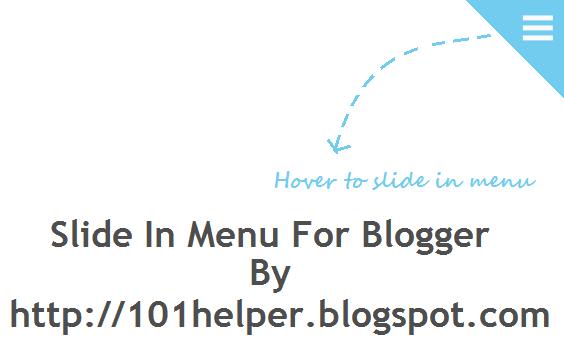 Slide in menu for blogger | 101helper blogger menus