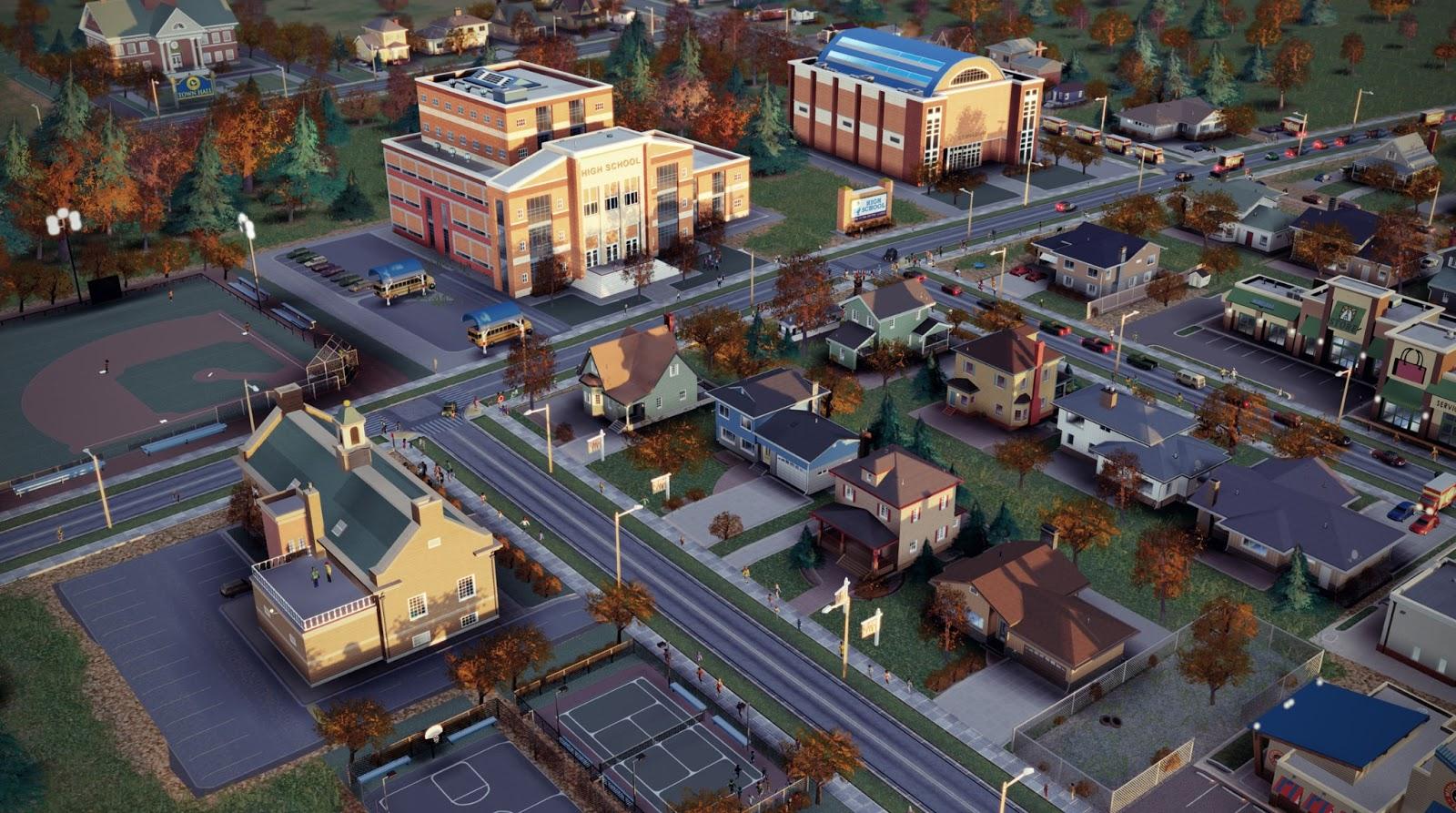 Пригородная школа в SimCity - вид спереди