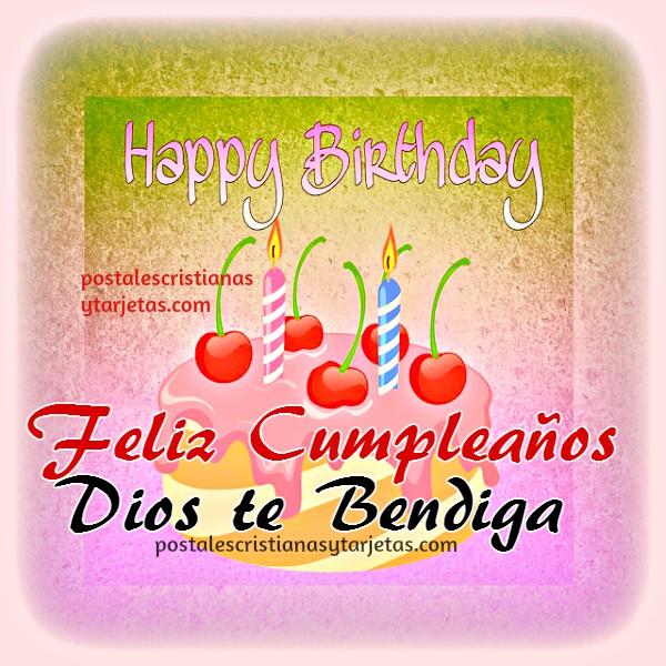 Tarjeta de feliz cumpleaños bilingue, happy birthday with christian quotes. Frases cristianas de cumple en imagen por Mery Bracho.