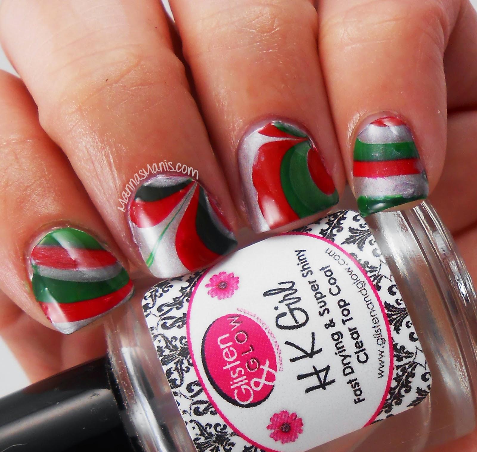 christmas watermarble nail art