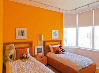 Dormitorio compartido para ni os de color naranja decora for Dormitorio naranja