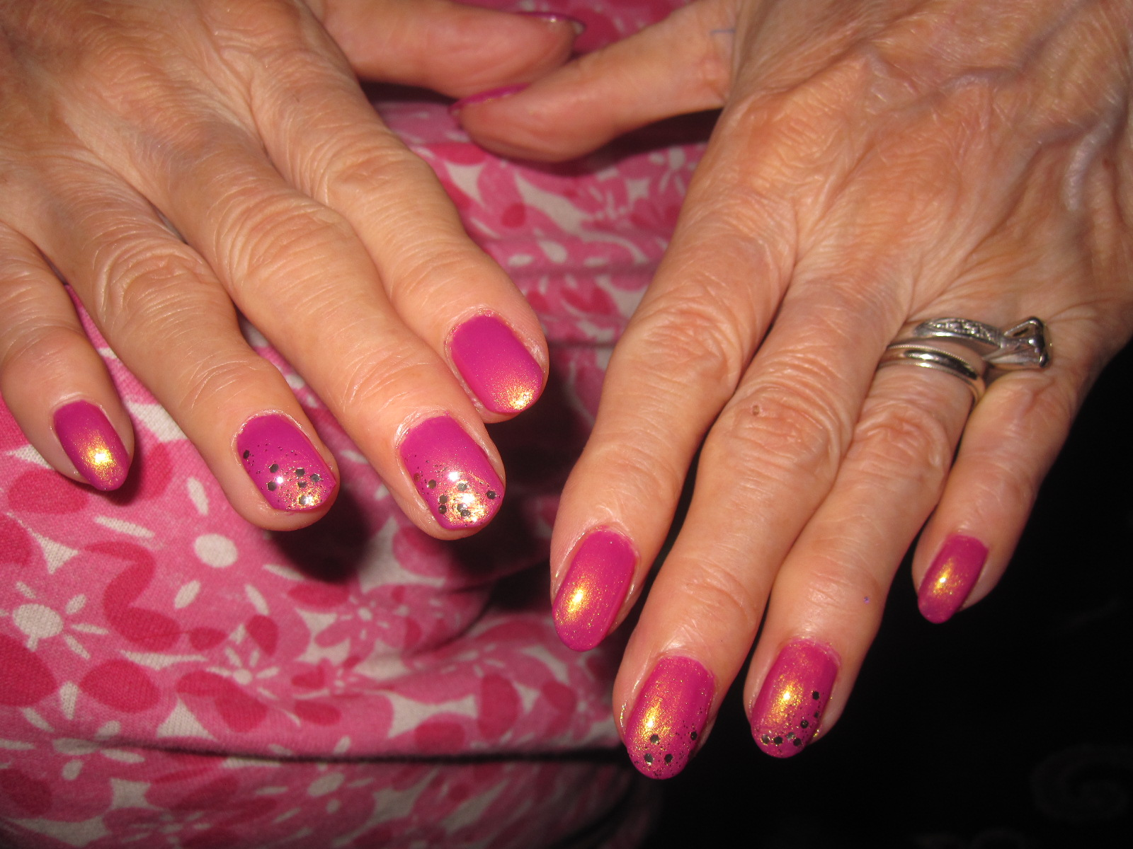 Mother's Day, I decided to paint my Grandma's nails! Here they are