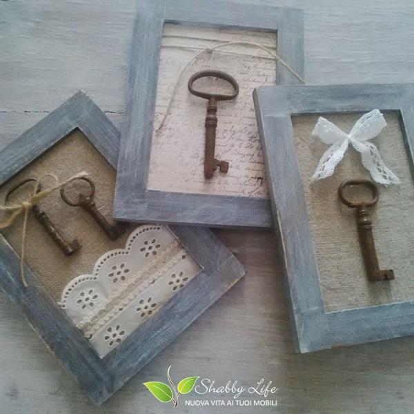 tutorial quadretti shabby con vecchie chiavi