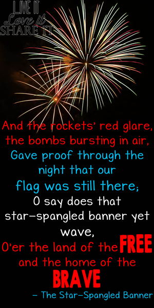 And the rockets' red glare, the bombs bursting in air, gave prove through the night that our flag was still there; O say does that star-spangled banner yet wave, O'er the land of the free and the home of the brave.