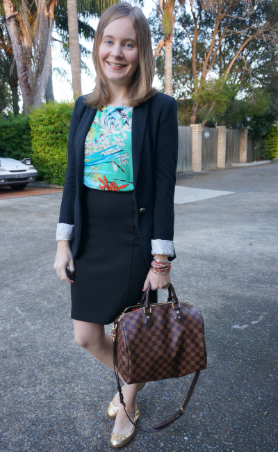 Away From Blue printed tee dress worn as top for office wear pencil skirt on top with blazer