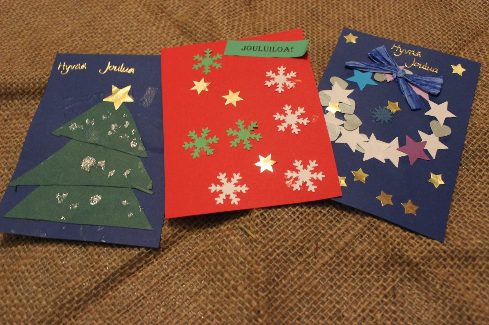 joulukorttien askarteleminen