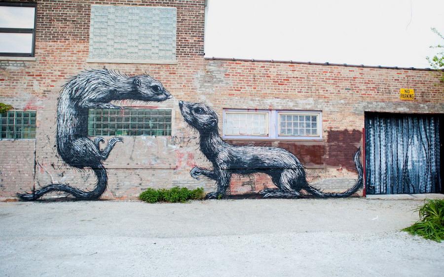 The operable window new chicago street art roa 39 s animal for Chicago mural artist