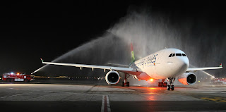 Water cannon salute for the inaugural Air Seychelles flight to Hong Kong