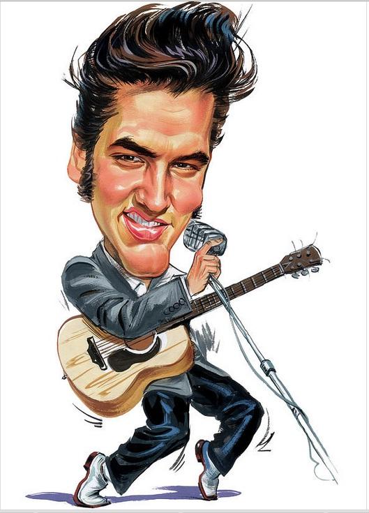 Elvis Presley dançando e cantando com um microfone
