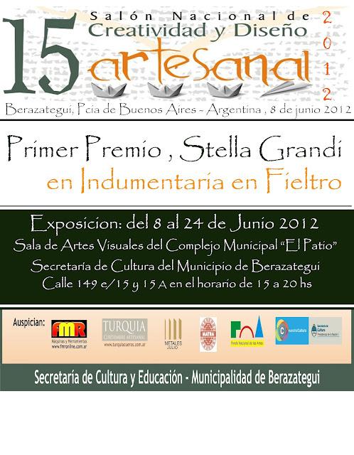 15 ° SALON NACIONAL DE CREATIVIDAD Y DISEÑO ARTESANAL PRIMER PREMIO EN FIELTRO