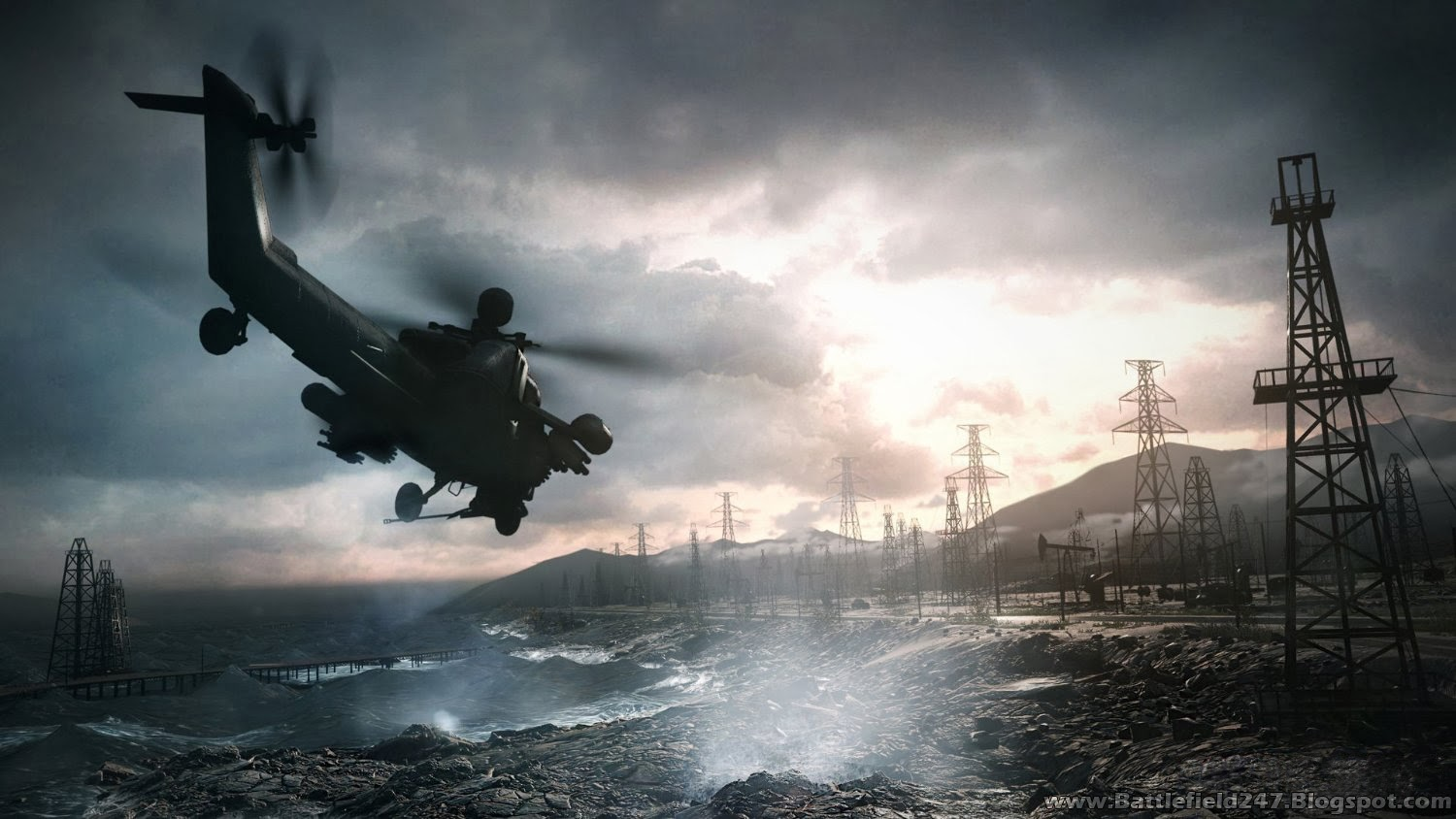 Battlefield 4 Russian MI-28 Havoc Multipurpose Attack Helicopter Background Wallpaper