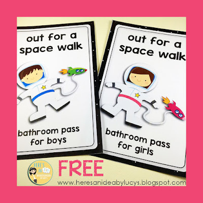 FREE Space Classroom Decor - bathroom passes