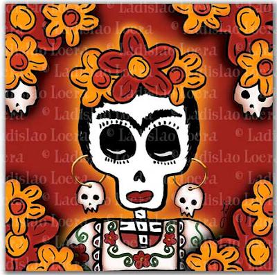 Frida sugar skull magnet