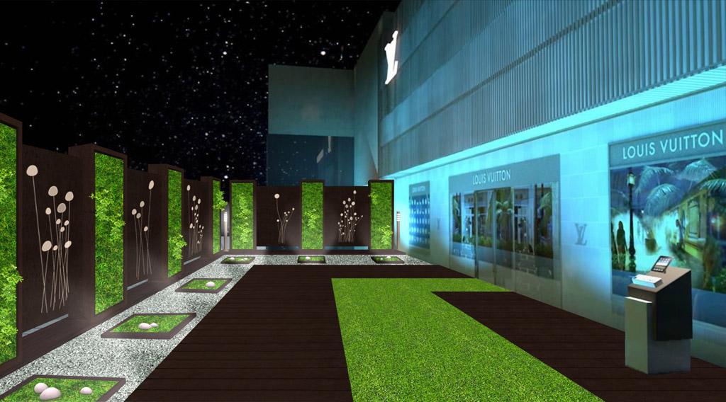 jardín minmalista con muro verde Louis Vuitton Cancun, interior, iluminación noche, zen