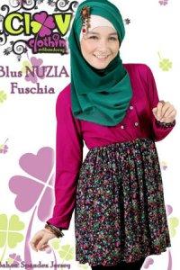 Clover Clothing Blus Nuzia - Fuschia (Toko Jilbab dan Busana Muslimah Terbaru)