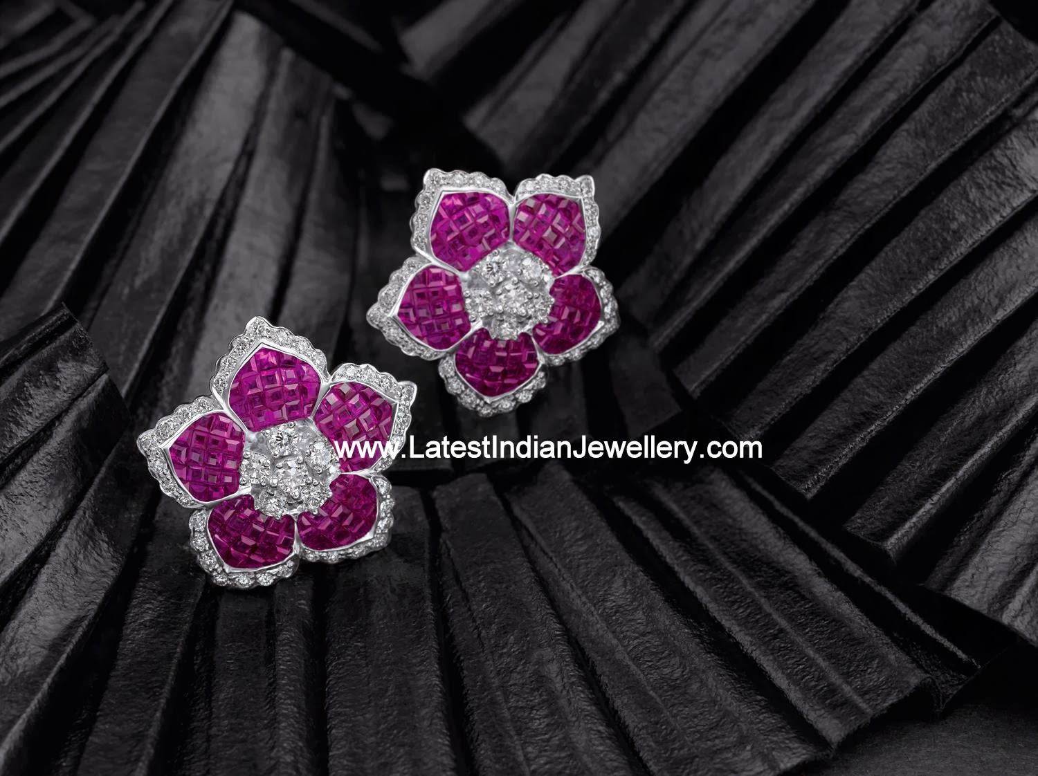 Diamond Ruby Floral Ear Studs